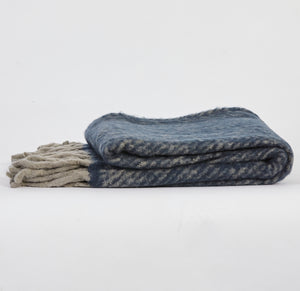 Herringbone Throw - Navy & Grey