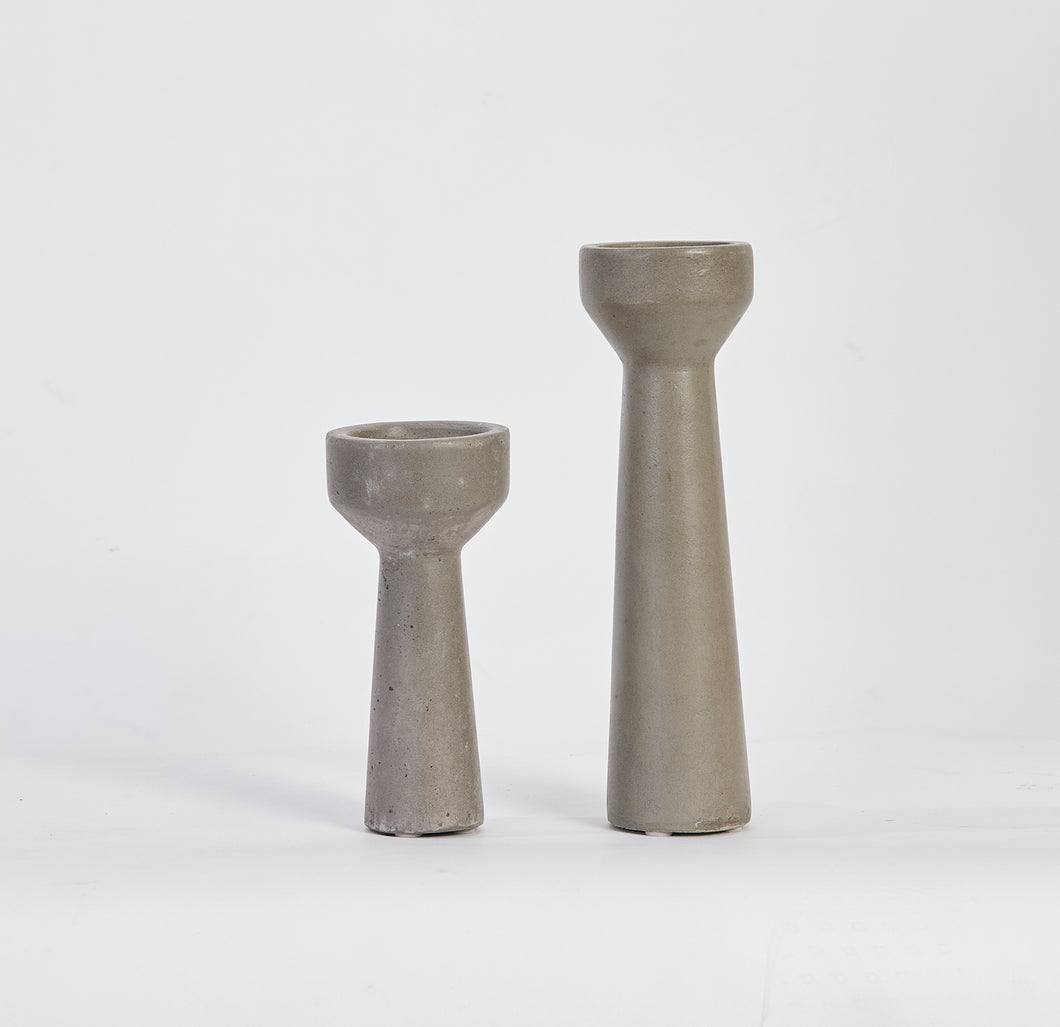 Turin Concrete Candle Stand - Set of 2