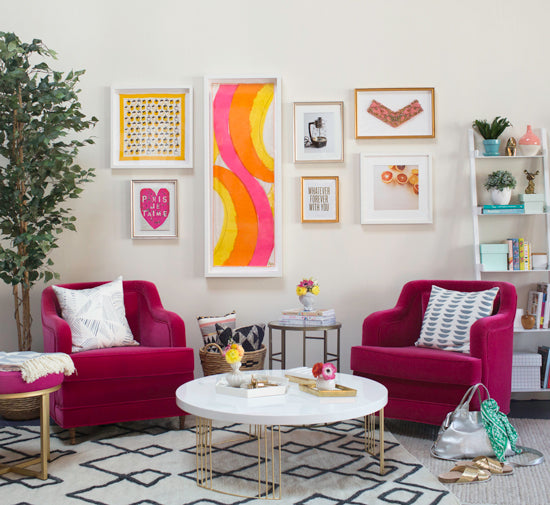 A Simply Framed gallery wall in collaboration with Joy Cho of the popular lifestyle blog Oh Joy