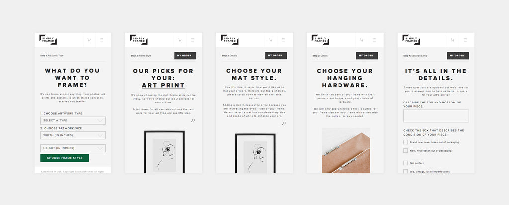 Simply Framed's easy online ordering process