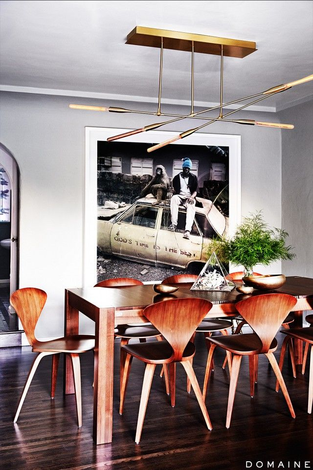 Oversized art in an LA dining room via Simply Framed