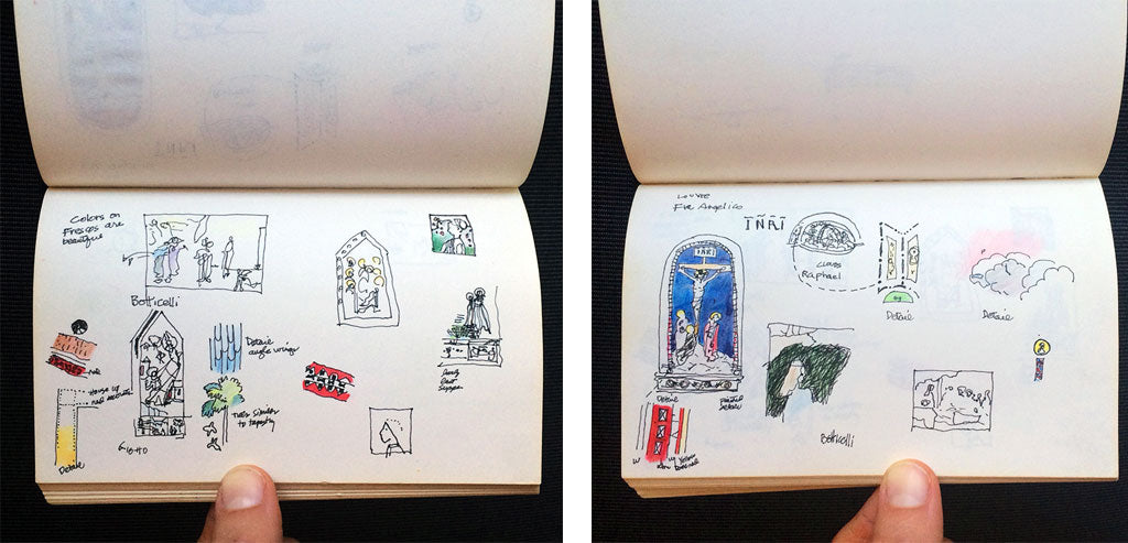 Paris sketchbooks by Jane Mount's father via Simply Framed