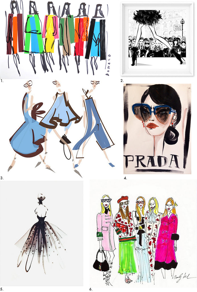 Best Fashion Illustrators 2015 via Simply Framed, including Donald Drawbertson, Jenny Walton, and Carly Kuhn.
