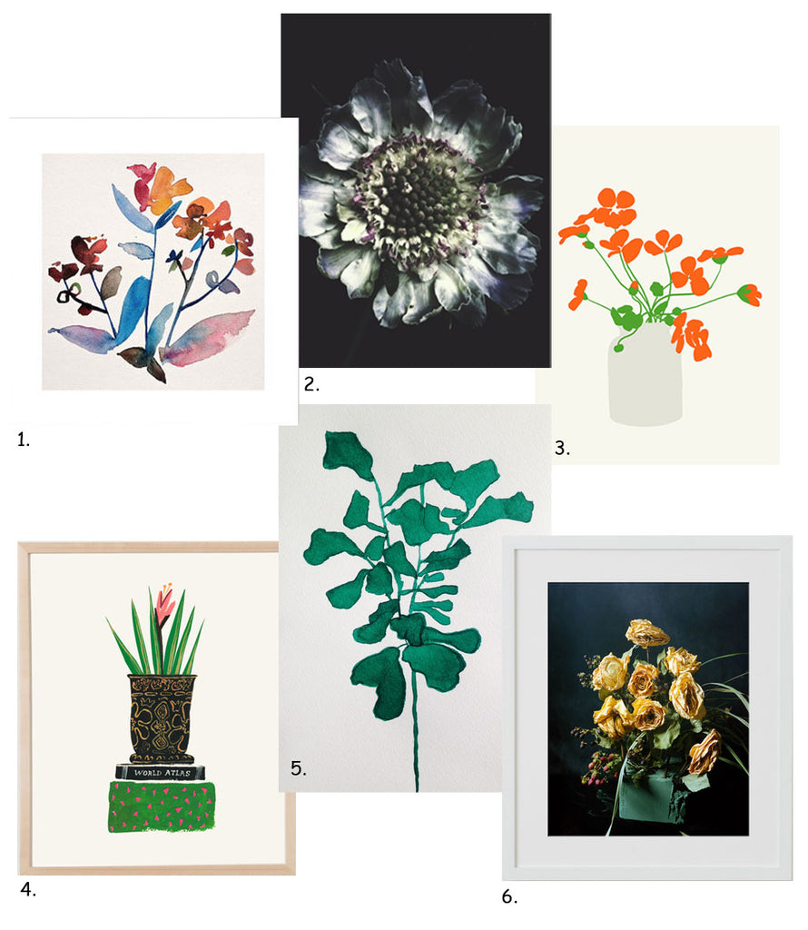 Simply Framed Gift Guide: Botanical Art Prints featuring the work of Kiana Mosley, Ashley Woodson Bailey, Jorey Hurley, Danielle Kroll, Catherine Jones, Greg Friedler