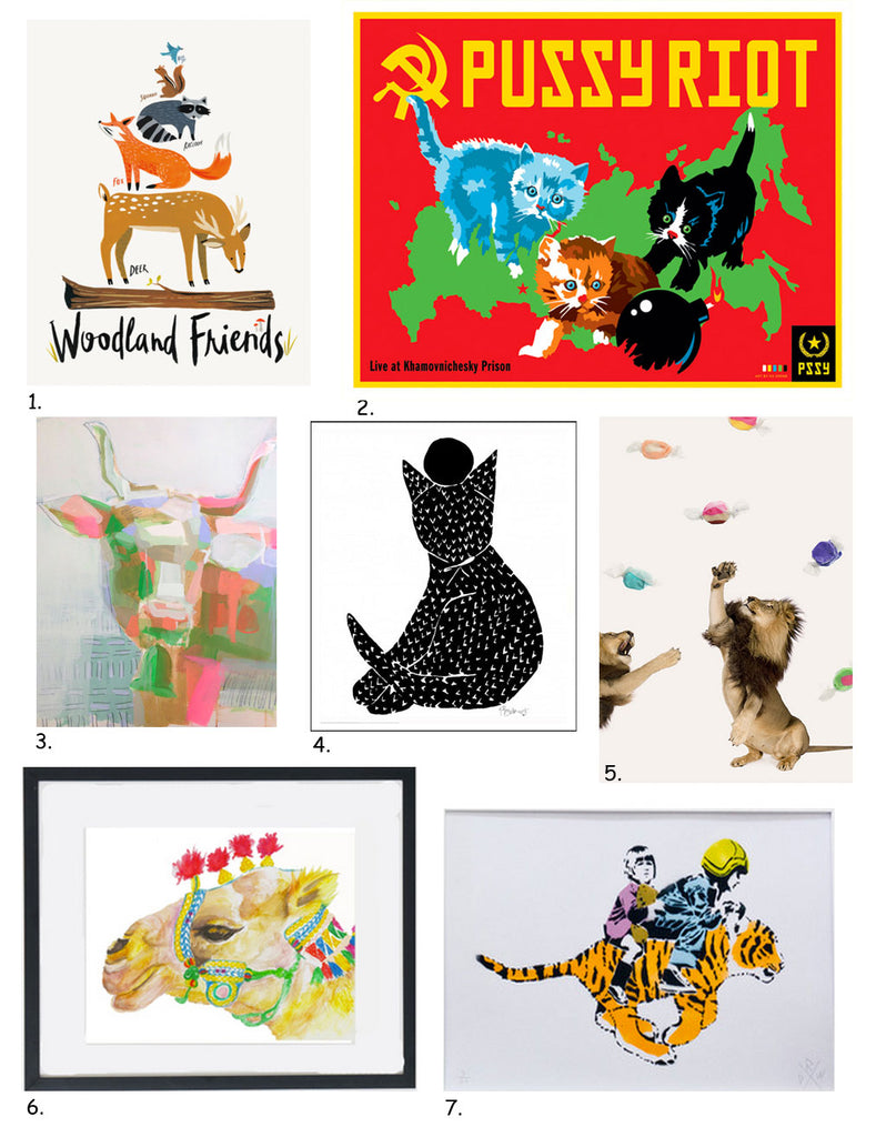 Simply Framed's Guide to Animal Art, including work by Idlewild Co., Kii Arens, Teil Duncan, Bowerbird Collective, Alex Proba, Carly Martin, and The Citizenry.