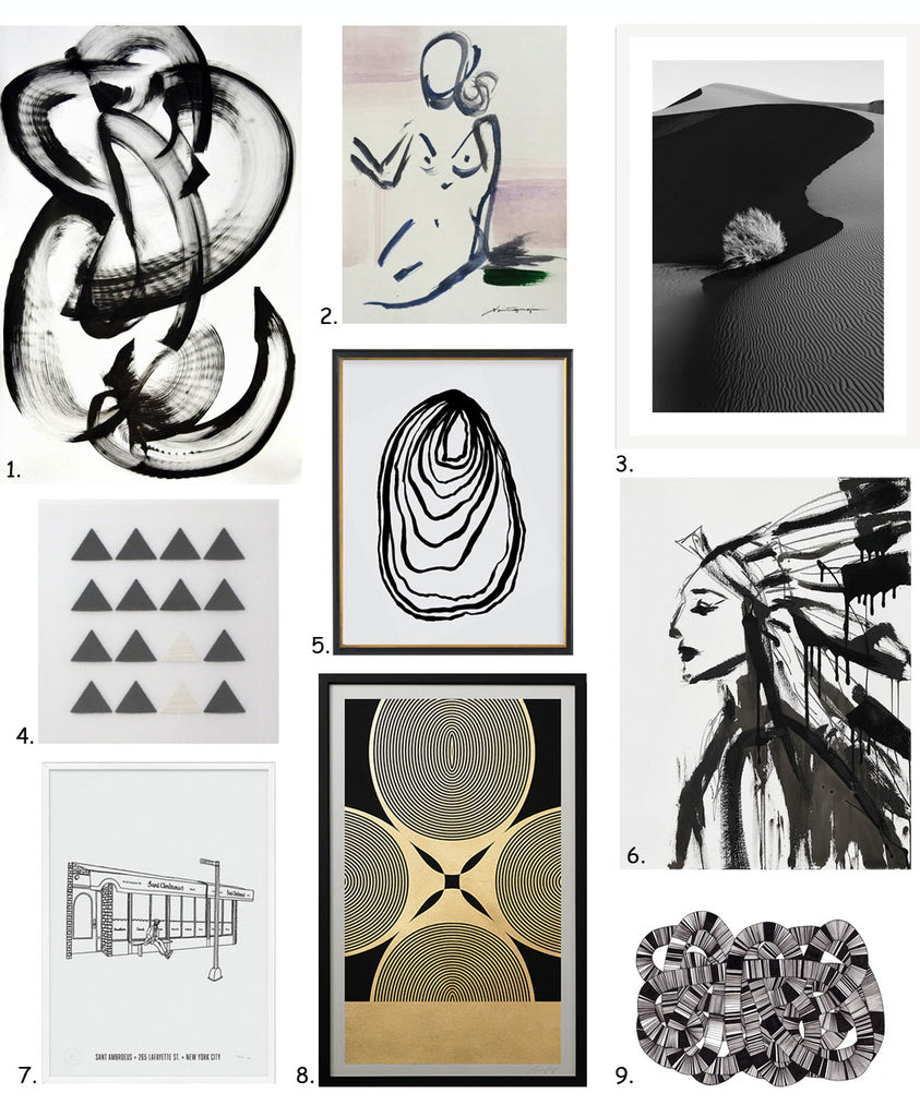Simply Framed's Guide to Black and White Art, featuring Thomas Hammer, NG Collective, Drew Doggett, Linda & Harriett, Jenna Snyder-Phillips, Knowlita, Lisa Hunt Creative, and Jaime Derringer of Design Milk.