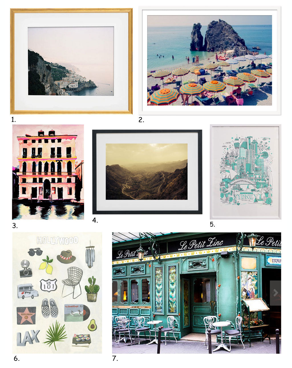 Simply Framed Gift Guide: Art for the Traveler, featuring the work of Tec Petaja, Gray Malin, Leigh Viner, Keteme, James Gulliver Hancock, Kathryn Warren of Hail Tiger Studio, Buddy Editions, and Rebecca Plotnick