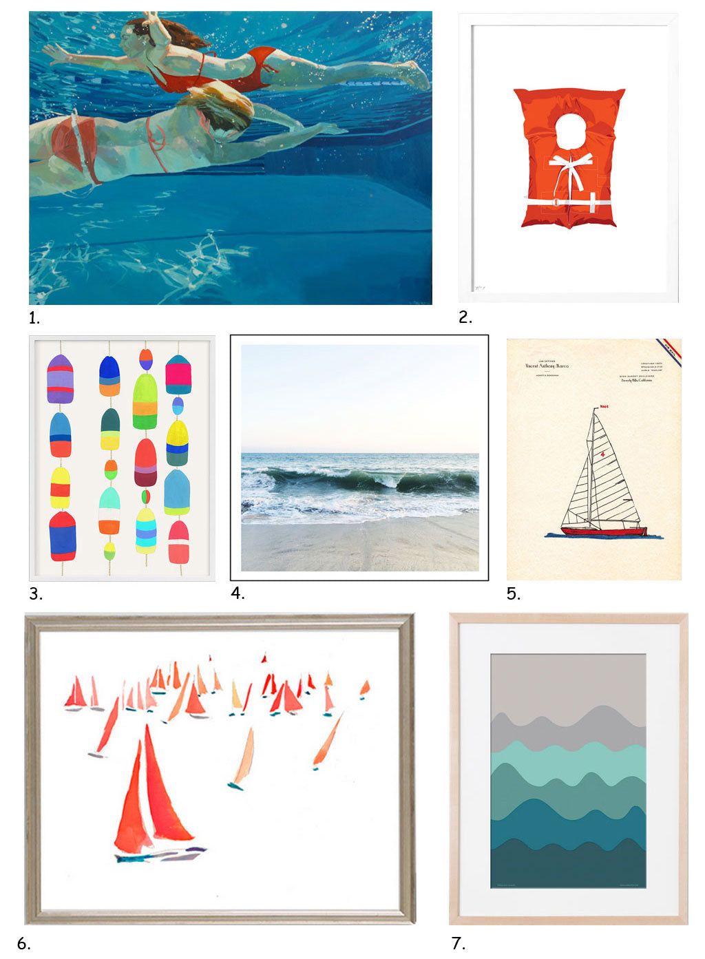 Nautical Art Gift Guide by Simply Framed, featuring Samantha French, Roo Kee Roo, Jow Studio, Instant Gallery, Honey & Bloom, Daylight Dreams Editions, and Happy Menocal.