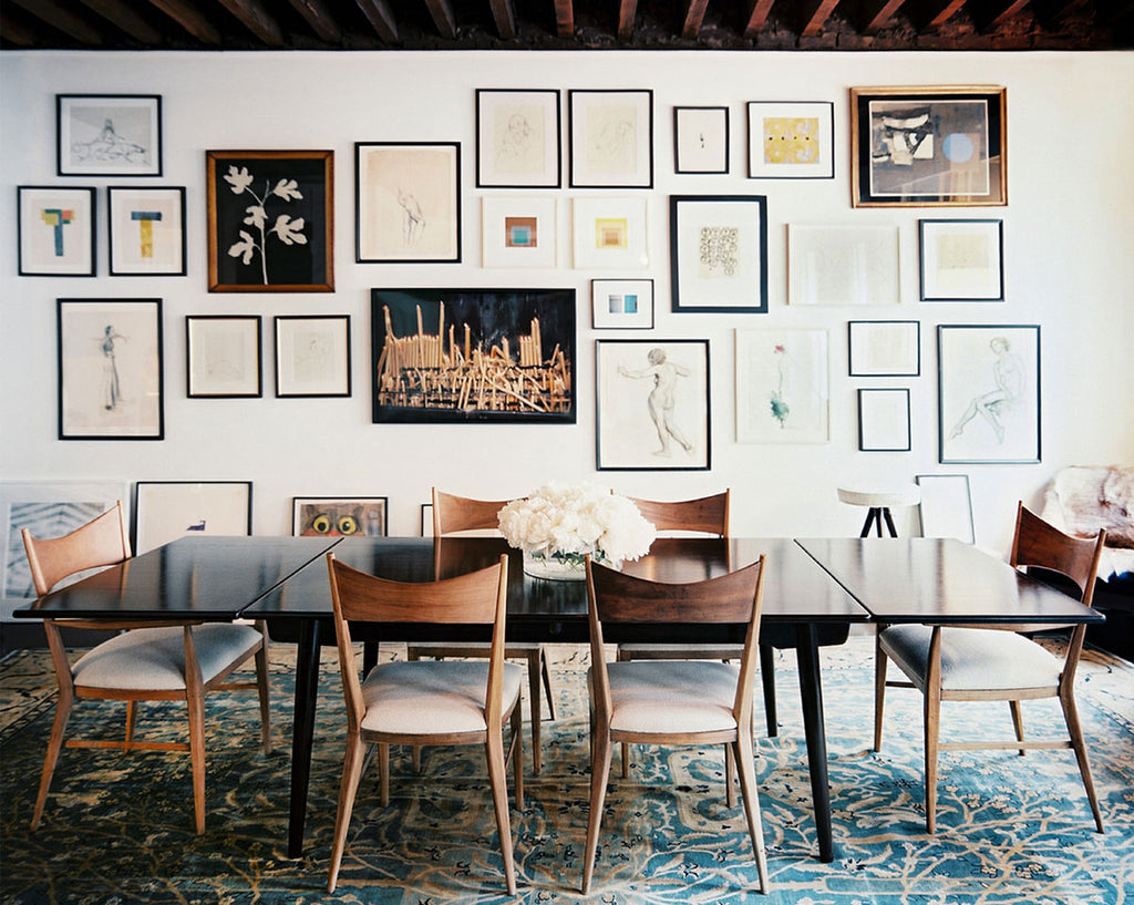 Julia Leach's dining room gallery wall via Lonny, Simply Framed