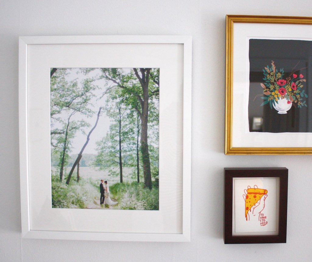 custom framed wedding photo gallery wall