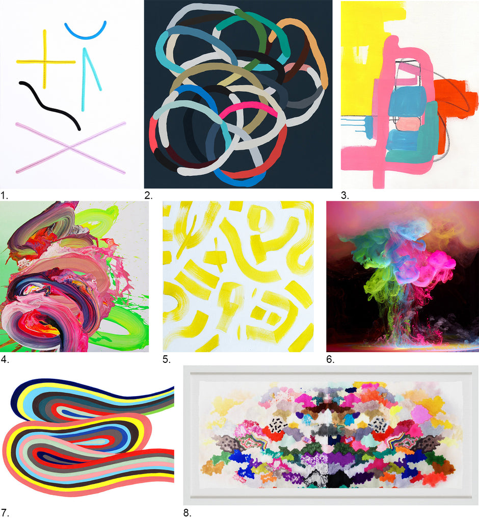 Neon Abstract Art: Simply Framed's Source List featuring Kirra Jamison, Erin Garcia, Jaime Derringer, Britt Bass, Hapi Art, Jessica Snow, Mark Mawson, and Yago Artel
