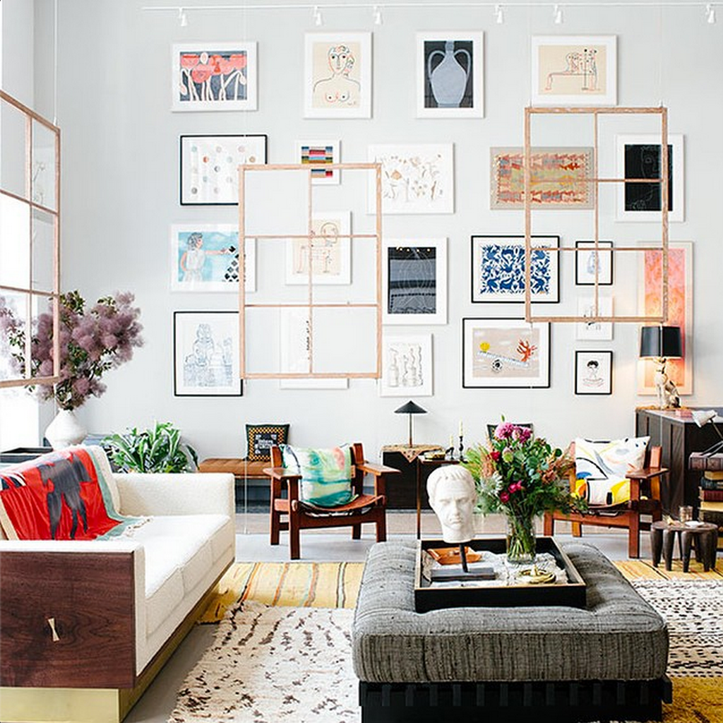 a gallery wall at boerum house home via simply framed