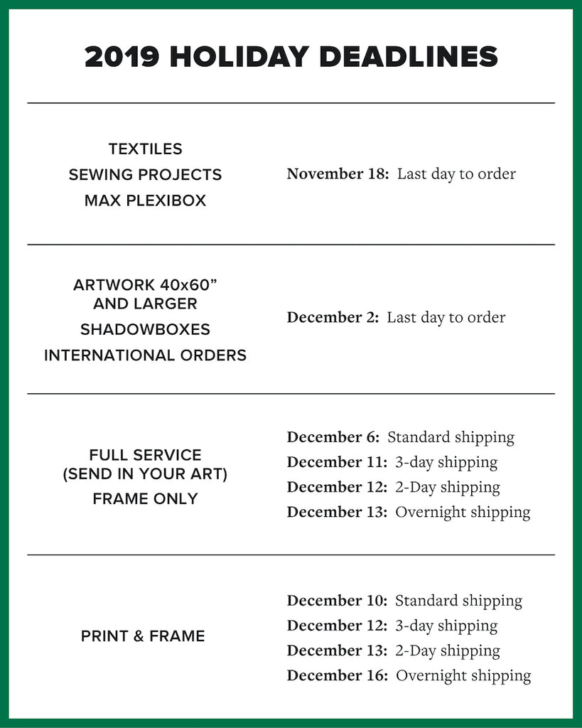 simply framed holiday order deadlines