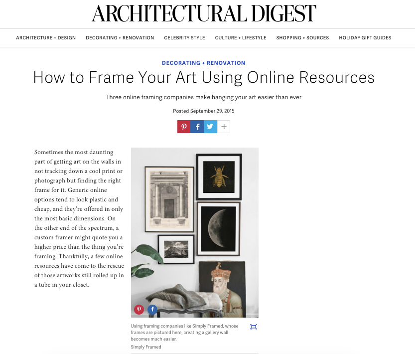 Architectural Digest custom framing Simply Framed