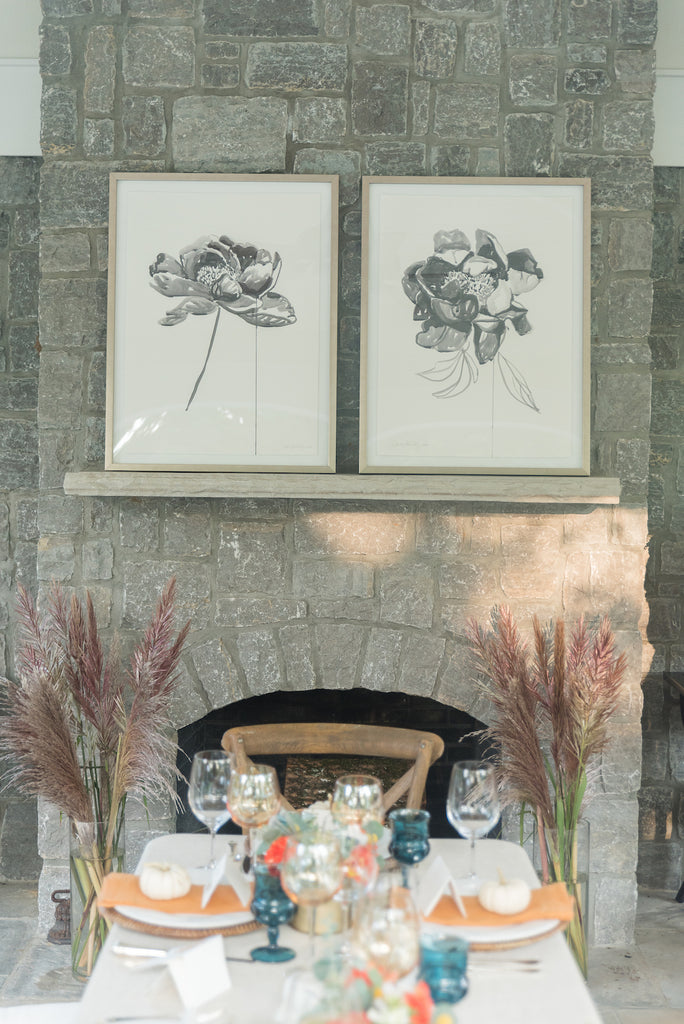 custom framed art in dining room