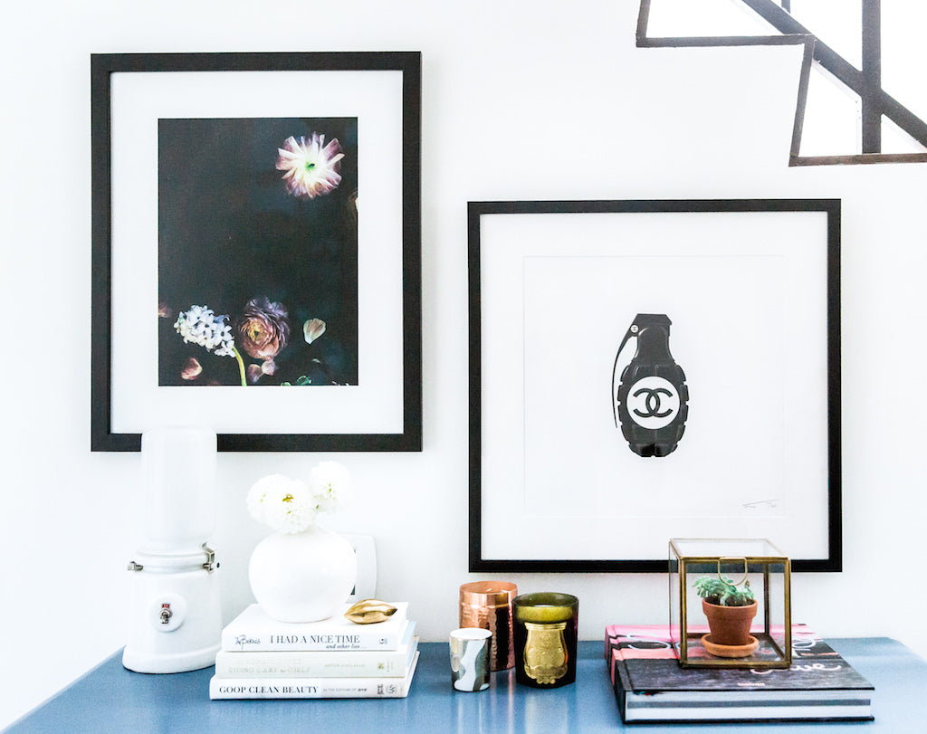 custom framed art in erin foster's home