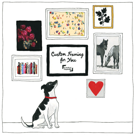 Give the gift of Custom Framing with the Simply Framed Gift Card. Illustration by Jane Mount of Ideal Bookshelf.