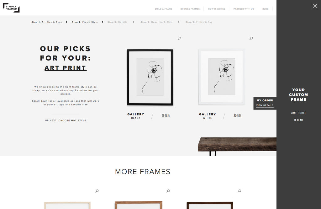 Easy custom framing online via Simply Framed