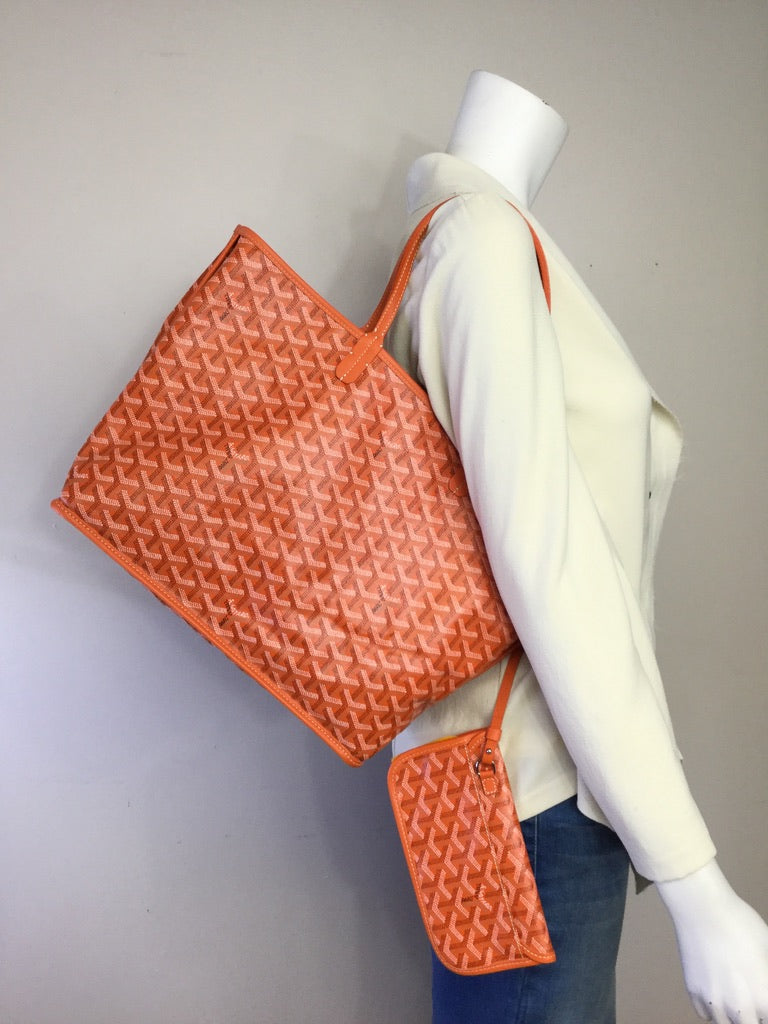 Special Ltd Edition Goyard Anjou PM Orange Reversible Tote Handbag