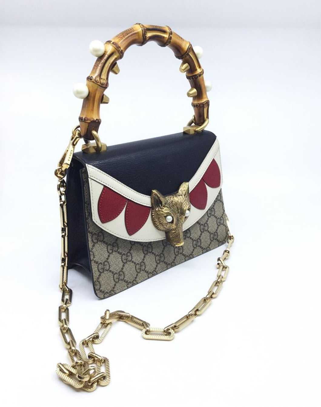 Gucci Mini Broche Top Bamboo Handle and Chain Bag