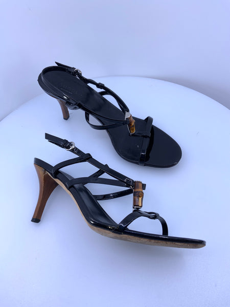 Gucci Sandals Bamboo T Strap Patent Leather Shoes Size 39