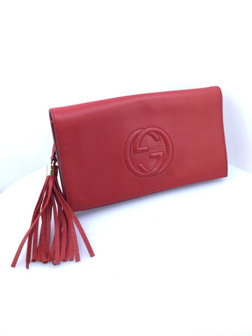 Gucci Soho Red Leather Clutch