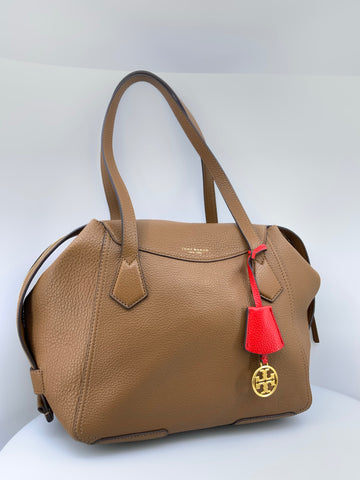 Tory Burch Perry Satchel Handbag Tan leather