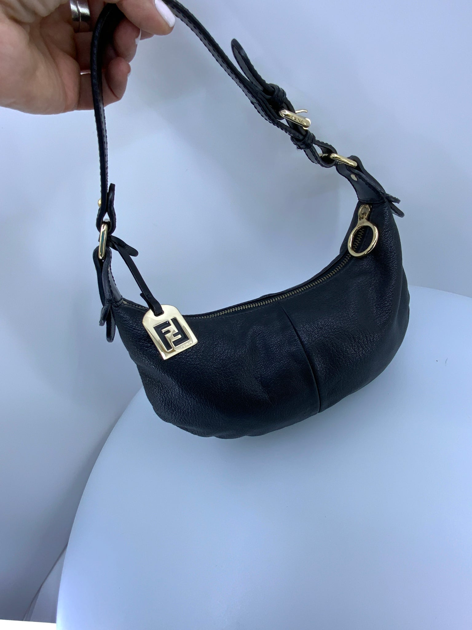 Authenticed Fendi mini hobo bag. Black leather EUC