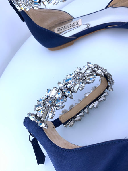 Badgley Mischka Crystal Embellished Navy Satin Shoes Size 7