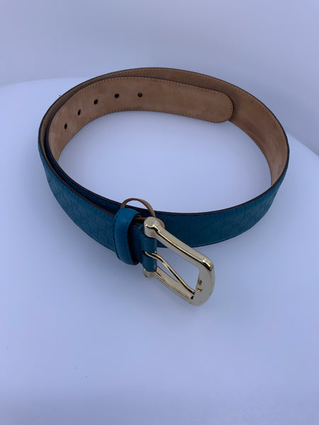 Leather Gucci Belt Size 90, Turquoise Blue
