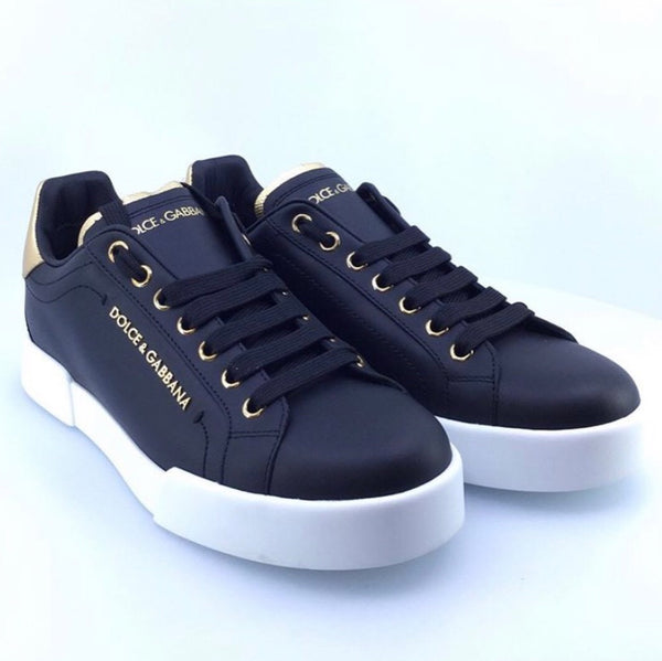 NEW Dolce & Gabbana Black Portofino Sneakers 37 & 38