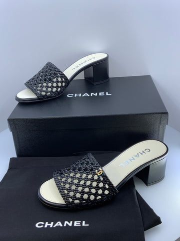 Chanel Slides Size 39 (US 8.5) Black Cane weave NEW