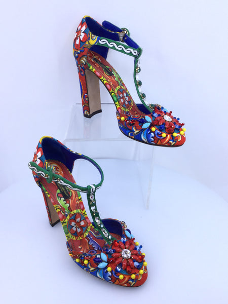 New Dolce and Gabbana Crystal Embellished T-Strap Heels Size 38.5