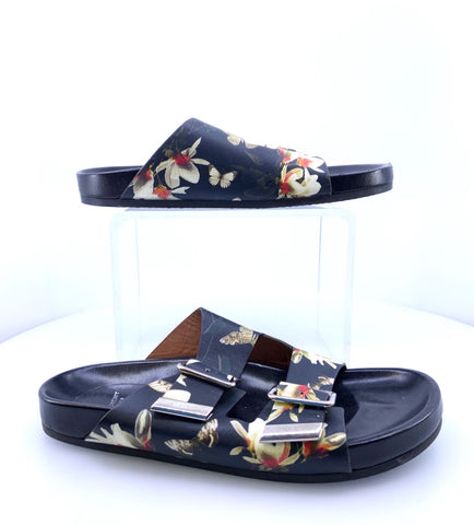 Givenchy Size 8 buckle slides with flowers