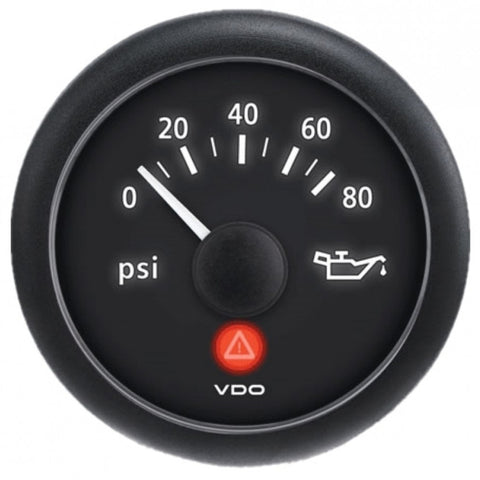 VDO ViewLine Onyx 80 PSI Oil Pressure Gauge 12-24V w-VDO Sender  US Thread Adapters [A2C53412998-K1]