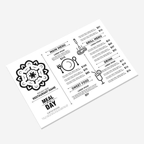 Black and White Menus