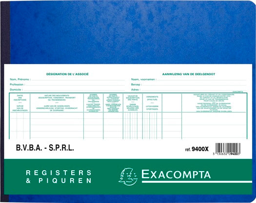 Exacompta - Registre associés SPRL/VBA bilingue