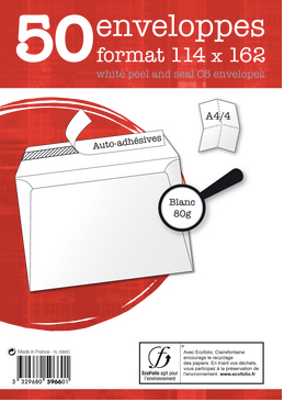Pack 50 enveloppes adhésives 114x162 80g Clairefontaine