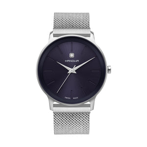 Open image in slideshow, UNISEX MODEL LUCA,  CASE 40MM , IN STAINLESS STEEL, WITH SWISSMADE RONDA MOVEMENT, MINIMALISTIC NAVY BLUE DIAL ON STAINLESS STEEL MESH BAND WITH MAGNET CLASP, WATER RESISTANCE 5 ATM. PRICE 149