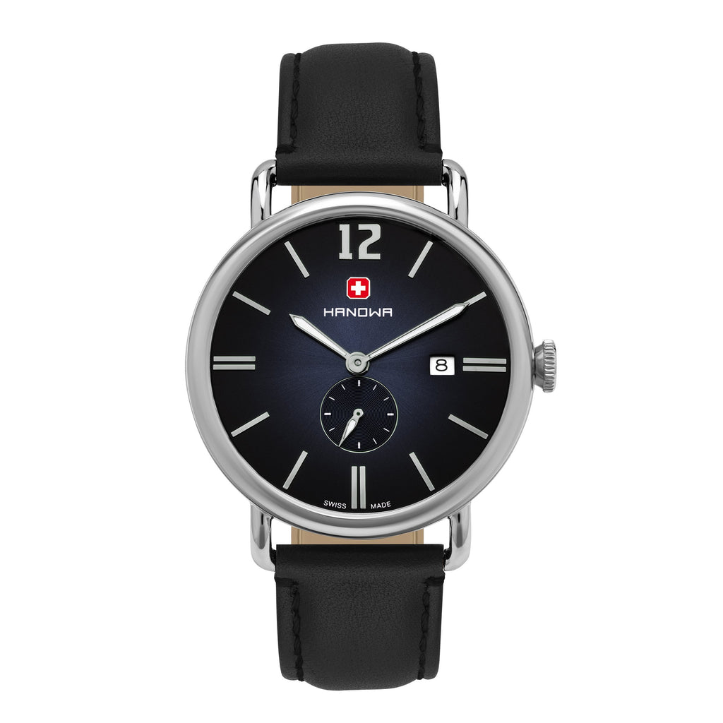 MODERN VINTAGE MAN'S WATCH VICTOR, STAINLESS STEEL CASE 42MM, SWISSMADE SUB-SECOND RONDA MOVEMENT, BLACK TO BLUE FADING DIAL, BLACK SMOOTH LEATHER STRAP, PRICE 179