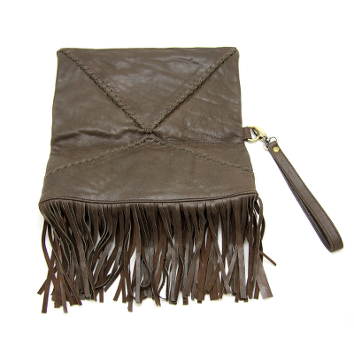 Chocolate Leather Fringe Clutch