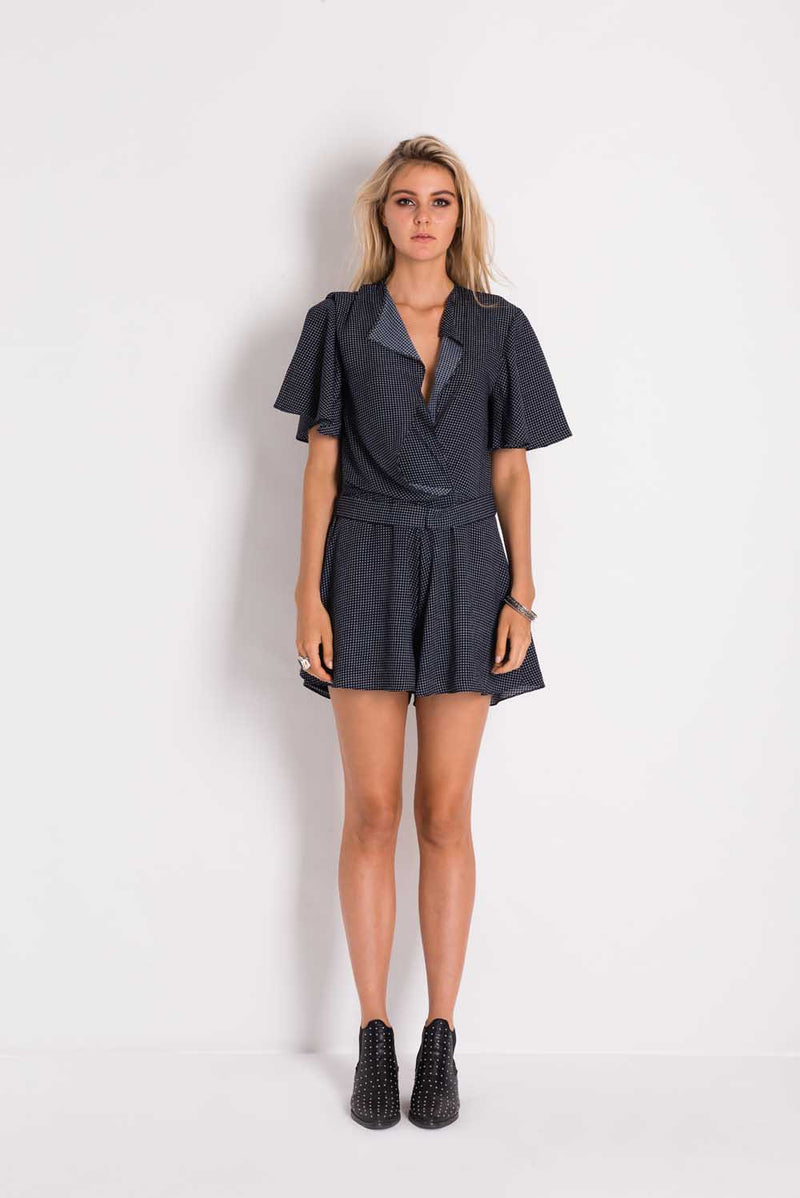 Elliptic Grid Playsuit - Navy/White
