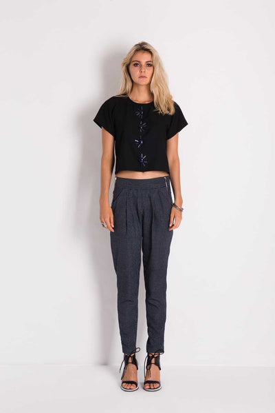Grid Pant - Navy/White