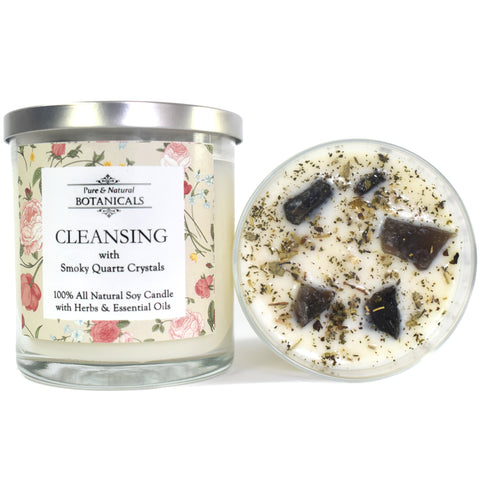 Cleansing Pure & Natural Soy Candle (100% Natural) with Herbs & Smokey Quartz Crystals