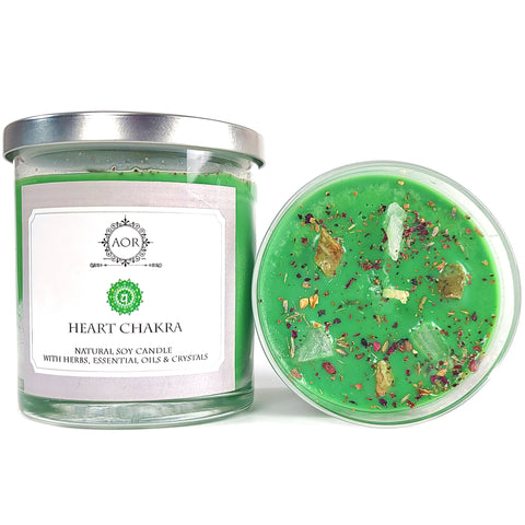 Heart Chakra Soy Candle with Rose Quartz and Chrysoprase Crystals, Herbs & Essential OIls