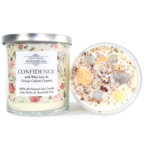 Confidence Pure & Natural Soy Candle (100% Natural) with Crytals, Herbs & Essential Oils