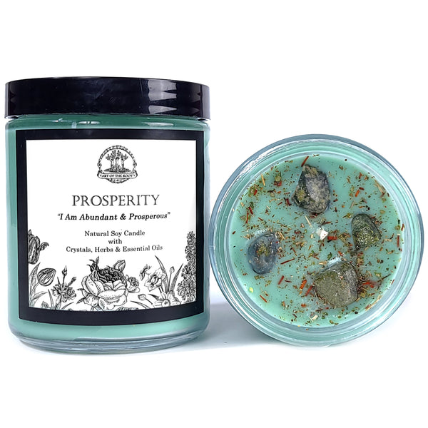 Prosperity Affirmation Soy Candle with Jade Crystals for Abundance, Good Fortune, Luck, Success & Obtaining Goals