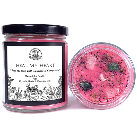 Heal My Heart Soy Affirmation Candle With Rose Quartz & Seraphinite Crystals for Grief, Loss, Sadness & Heartache