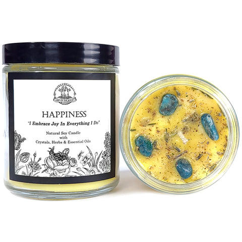 Happiness Soy Affirmation Candle with Blue-Green Apatite Crystals for Joy, Positive Energy & Optimism