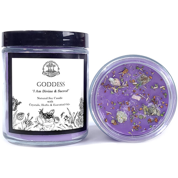 Goddess Affirmation Soy Candle with Chrysocolla Crystals for Divinity, Wisdom, Power, & Spirituality